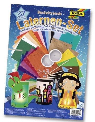folia 951 - Laternen Bastel-Set, 37 Teile - Kreativset für Kinder und Erwachsene mit unterschiedlichen Materialien zum Basteln von Laternen