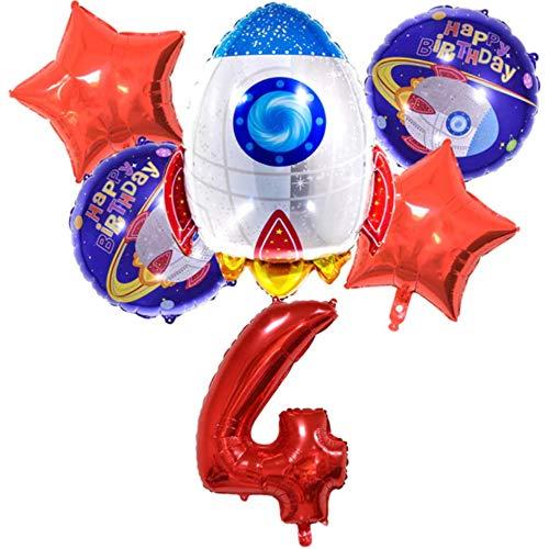 DIWULI, großes Raketen Weltraum Luftballon Set, XL Zahlen-Ballon Zahl 4 rot, Happy Birthday Folien-Ballons 4. Kinder-Geburtstag Junge, Motto-Party, Dekoration, Raumschiff, Astronaut, Sterne, Planet