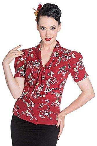 Hell Bunny - Blusa Birdy estilo vintage de los años 40/50, Segunda Guerra Mundial, estilo chica de campo pin-up, para mujer Rojo rosso 50