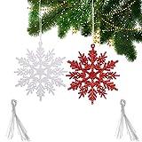 FLOFIA 24pcs Copos de Nieve Colgante Adorno para Árbol De Navidad Copo de Nieve Artificial con Purpurina 10,5cm Decoración Navidad Ornamento Navideño Hogar Pard Ventana Escaparate (Blanco + Rojo)