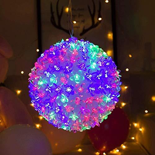 MGE Bola de Navidad, Bola de la Flor Decoración Luces LED Luces de la Bola Multicolor de Vacaciones de Navidad Lámpara Colgante (Size : Pink 200 Head 20 cm)