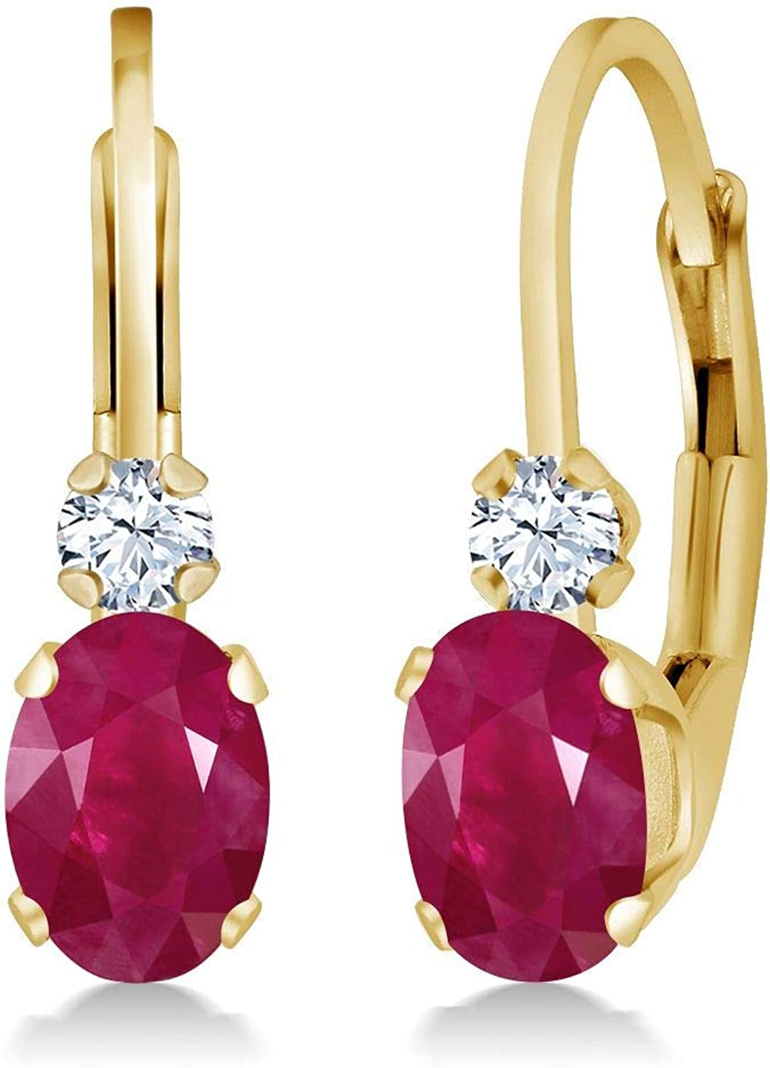 1.28 Ct Oval Red Ruby White Created Sapphire 14K Yellow gold Earrings
