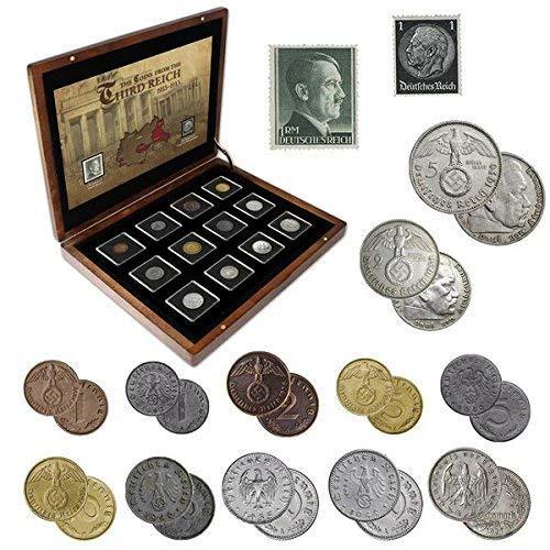 IMPACTO COLECCIONABLES ANTIKE Münzen - Münzsammlung - 12 Münzen + 2 Briefmarken aus Deutschland, Sammlung aus dem Zweiten Weltkrieg 1939-1945