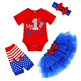 Baby Girls My 1st 4th of July Outfits Short Sleeve Romper+Tutu Skirt+Headbands+Warm Leggings 4PCS Clothes Set(Red, 0-3 Months