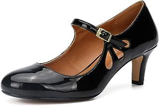 fereshte Women Ankle Strap Mid Kitten Heel Work Dress Pumps Shoes Round-Toe
