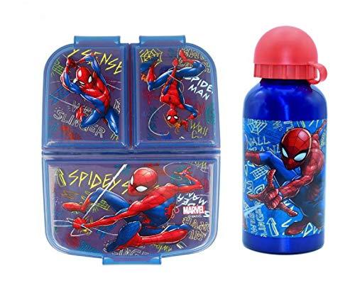 Set Botella de Agua de Aluminio Infantil con Fiambrera sandwicheras con 3 Compartimentos para niñas7 niños, cantimplora térmica a Prueba de Fugas sin BPA Termo 400 ml