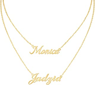 DayOfShe Layered 2 Names Necklace Personalized, Custom Double Chain Choker Necklace 18K Gold Plated Nameplate Charm Pendant for Mother