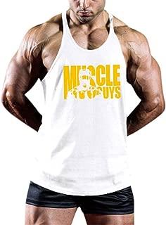 kemilove Men Fitness V Neck Muscle Print Tank Tops Vest Sport Tight-Drying Bodybuilding Shirt