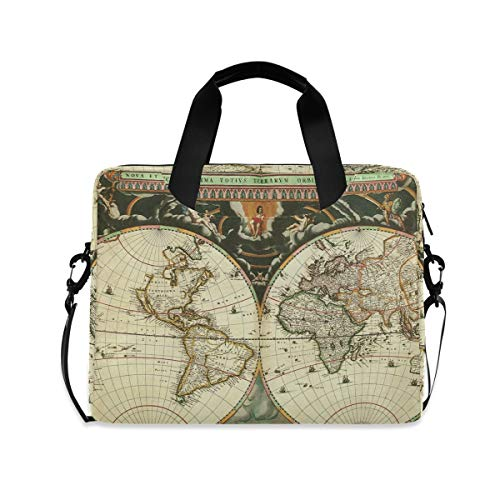XIXIKO World Map Vintage Laptop Bag Expandable Trolley Briefcase Bag for Women Men with Detachable Strap for Work Trip Business Travel iPad MacBook