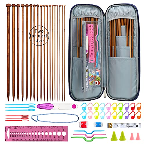 KOKNIT 36Pcs/18 Pairs Bamboo Knitting Needles Set, 13.5 Inches Length Carbonized Knitting Needles with Case for Handmade Lover, Included Small Tools for Weave