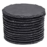 Slate Coasters, MAPRIAL 4 Inch 12 Pieces Round Black DIY Coasters with Anti-Scratch Backing for Bar Kitchen Home Decor