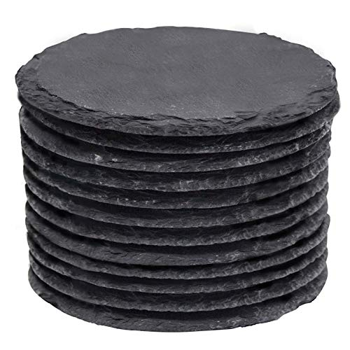 Slate Coasters MAPRIAL 4 Inch 12 Pieces Round Black DIY Coasters with Anti-Scratch Backing for Bar Kitchen Home Decor