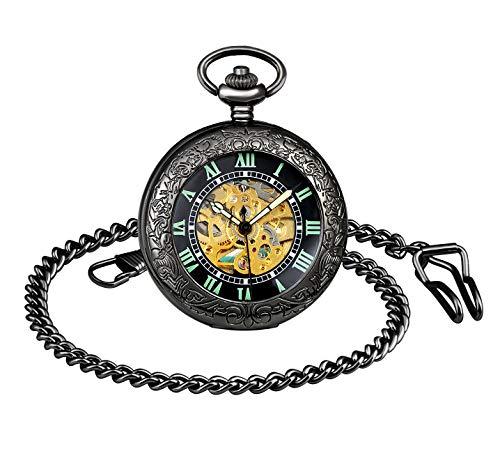 MICGIGI-Unisex Taschenuhr mit Halskette Kette Analog Automatisch Antik Römische Ziffern Mechanische Taschenuhren