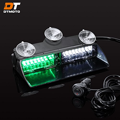 """9"""" 16W Green White LED Flashing Police Warning Strobe Dash Light for Emergency Vehicles - Interior Emergency Police Lights For Windshield w/Suction Cup"""