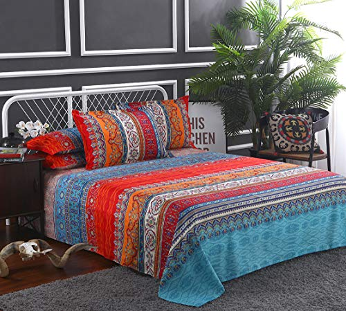 Omelas Bohemian Sheet Set Full Size Boho Colorful Tribal Striped Bed Sheets Set Super Soft Microfiber, 16' Deep Pocket Ethnic Fitted Sheet,Vintage Flat Sheets,2 Pillowcases (WCF,F,4 Pcs)