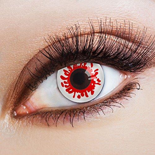 aricona Kontaktlinsen Farblinsen - Weiße Jahreslinsen - Halloween Kontaktlinsen Horror ohne Stärke