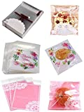 Wootkey Candy Bags 300 pcs 5.5' Thank You Lace Bow Self Adhesive OPP Cookie Bakery Decorating Bags...