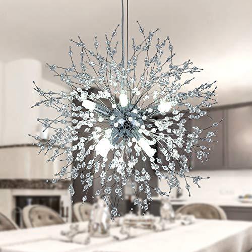 Modernas Cocina Comedor Lamparas de techo LED Lámpara Colgantes Creatividad Diseño Luz Salón Dormitorio Interior Decor Luces Altura ajustable Plafones para Baño Habitación Iluminación(Cromo de plata)