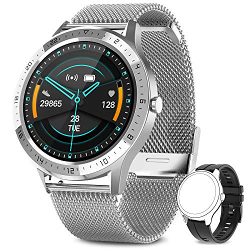 AIMIUVEI Smartwatch, Reloj Inteligente Impermeable 67 con Pantalla Táctil Completa, Pulsómetro, Monitor de Sueño, 7 Modos de Deportes, Reloj Deportivo Hombre Mujer para iOS y Android (Plata)