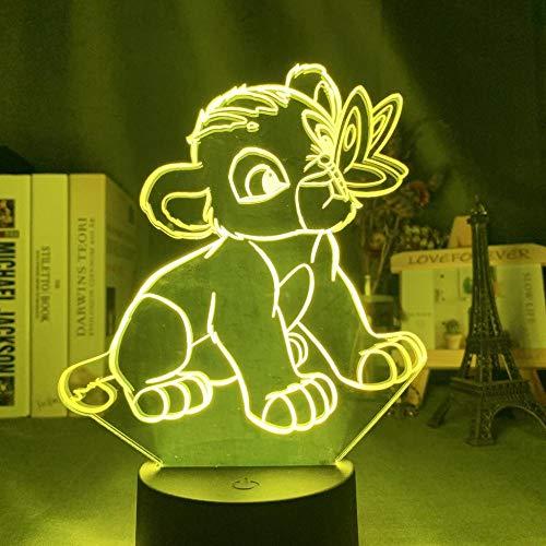 Illusion 3D lumière acrylique veilleuse Simba Lion King adapté pour chambre enfants anniversaire cadeau de Saint Valentin - noir Base_Simba et papillon
