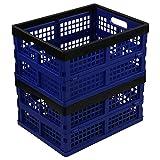 Neadas Caja Cesto Plegable de Almacenamiento Plastico, 2 Paquetes de Color Azul Profundo y Negro