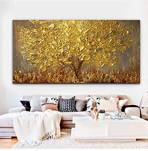 """Faicai Art Thick Texture Gold Tree Paintings Canvas Wall Art Hand Oil Canvas Paintings 3D Palette Knife Canvas Artwork Wall Decor for Living Room Bedroom Office Stretched Ready to Hang 24""""x48"""""""
