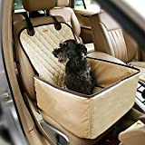 Pettom Pet Bucket Seat Cover Booster Seat 2 in 1 Deluxe Dog& Cat Front Seat Cover for Cars Non- Slip Backing Waterproof (Beige)