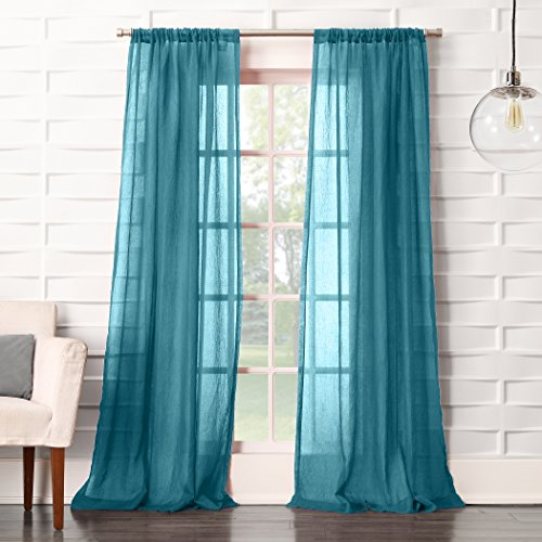 "No. 918 44082 Tayla Crushed Texture Semi-Sheer Rod Pocket Curtain Panel, 50"" x 95"", Marine Teal"