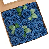 Roqueen 25 Piezas Flores Rosas Artificiales Espuma Rosa Falsa con Tallos para Boda Nupcial Ramos Centros de Mesa Preparativos Partido Hogar Decoración (Azul Armada)