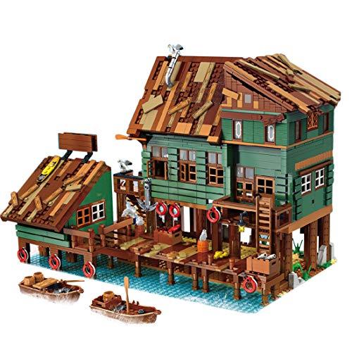 PEXL Angelkai Bausteine Modell Bausatz 2745 Klemmbausteine Kompatibel mit Lego 21310 Alter Angelladen