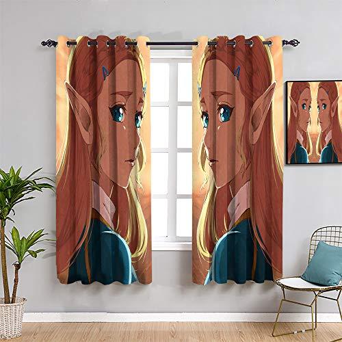 Ficldxc The Legend of Zelda - Cortinas aisladas, 213,4 cm de largo, para videojuegos, decoración de habitación de niños para sala de estar o dormitorio (52 x 84 pulgadas)