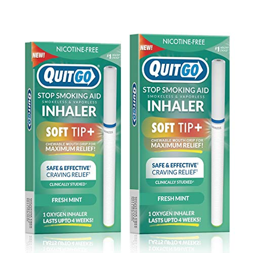 Nicotine-Free Smoke-Free Oxygen Inhaler with Soft Tip Chewable Filter for Maximum Relief, Clinically Studied to Help Cope with Oral Fixation and Quit Smoking Support (Twin Pack, Fresh Mint)