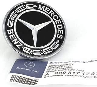 Guzetop Flat Hood Emblem Ornament Logo Black 57MM for Mercedes Benz C E SL Class