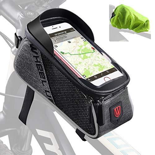 """Tricodale Borsa Telaio Bici, 5,5\"""" a 6.3\"""" Borsa Bicicletta Manubrio Impermeabile Tubo Sacca, Accessori Bici Supporto BMX MTB, Touch Screen Porta Bici da Corsa (Nero e Grigio)"""