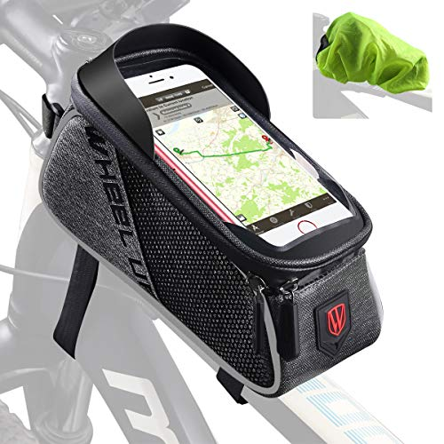 "Tricodale Bolsa Bicicleta Cuadro, 6.3"" Bolsa Manillar Bici Impermeable Soporte Movil Bicicleta con Funda Protectora Alforjas para Bicicleta Montaña o Carretera(Negro y Gris)"