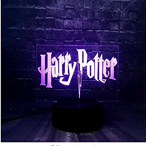 3D Ilusión óptica Lámpara LED LED Luz nocturna Harry Potter Gift Darling In The Best Birthday Holiday Gifts For Children Con interfaz USB, cambio de color colorido
