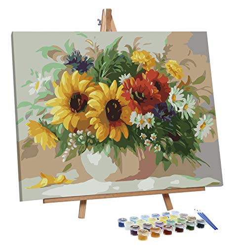 VIGEIYA Paint by Numbers for Adults Beginners with Framed Canvas and Easel Including Acrylic Paints Paintbrushes 16x20in (Flowers in The Vase)