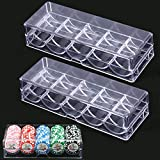 ZYHDFH 2 PCS Poker Chips Box Acryl Poker Chips Tray Box Pokerchips Halter Tray Transparent Chips Aufbewahrungskoffer mit Abdeckung für 100 Stück Chips Aufbewahrung für Party Home Casino Spiel
