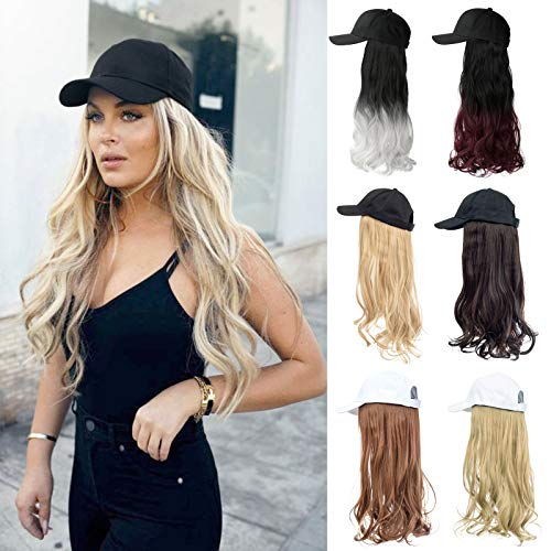 XBwig Hats With Hair Attached For Women Synthetic Wig Hat Long Wavy Adjustable Wave Hairpiece Black Baseball Cap With Hair Extensions With Magic Paste Ginger Brown Mix Bleach Blonde