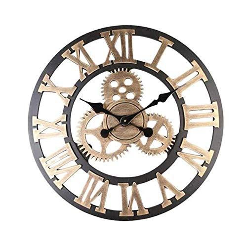 Creative 3D Gear Wall Clock Retro Fashion Wall Decorative Hanging Clock Art for Office/Kitchen/Bedroom/School Decorative, Silent Clock