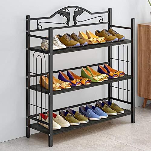 M-YN Zapatero 3 Niveles Organizadores de Almacenamiento de Metal Estantes de Madera Soportan hasta 12 Pares de Zapatos 81 x 24 x 77 cm (W x D x H) Tubos de Acero (Color : C)