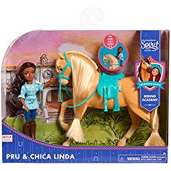 Includes one 5-inch Pru doll and one 7-inch Chica Linda horse Each doll features poseable arms and legs for imaginative play Perfect addition to any horse collection Collect all the DreamWorks Spirit Riding Free Doll and Horse Sets Each set sold sepa...