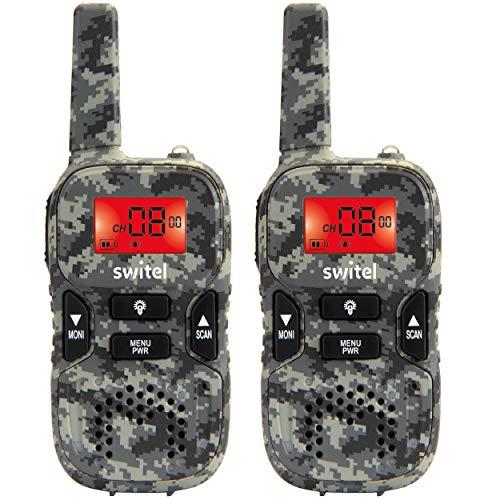Switel WTE2350 Walkie Talkie, Funkgeräte 2er-Set im Camouflage Design mit beleuchtetem Display und Taschenlampe