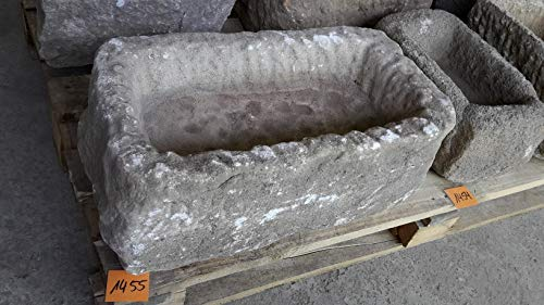 Der Naturstein Garten Alter Trog aus Granit 54 cm lang Brunnen Steintrog - G1455 Granittrog Waschbecken