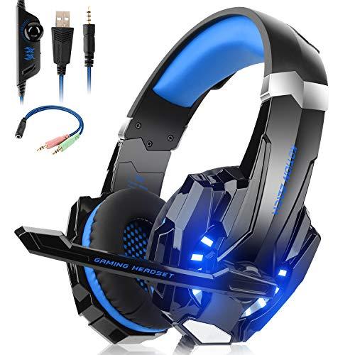 Willnorn Casque gaming de jeu stéréo avec micro pour PS4, Xbox One, PC, Nintendo Switch, Mac/réduction du bruit avec microphone et contrôle du volume, jack 3,5 mm, lumières LED (Bleu)
