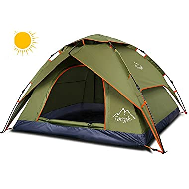 Toogh Waterproof 3 Season Tents for Camping/2-3 Person Camping Tent/Backpacking Tents (Dark green)