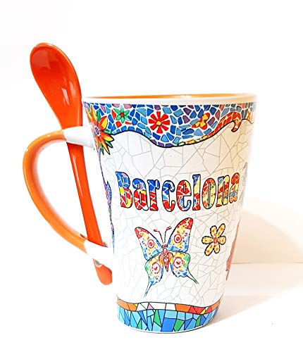 MR Große Kaffeetasse mit Motiv Gaudi Barcelona mit Löffel Orange