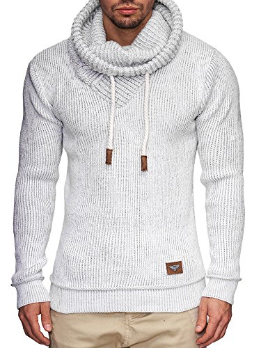 Indicode Homme Keshawn Pull D'Hiver À Grosse Maille avec Col Montant | Chaud Pull pour Homme Moderne Pull À Message Hoddie Pull Confortable Pull en Maille Pull en Maille pour Homme en Blanc M
