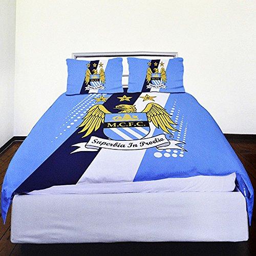 Machester City FC Kinder Bettwäsche mit Streifen und Club Wappen (Doppelbett) (Himmelblau/Blau/Weiß)