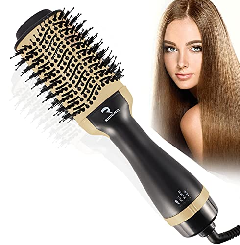 Richlam Hot Air Brush,Blow Hair Dryer Brush, One Step Hair Dryer and volumizer with Salon Negative Ionic for Straightening, Curling, Professional...